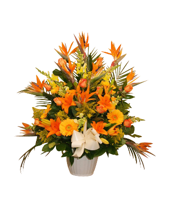 Urn Container Tropical With Birds